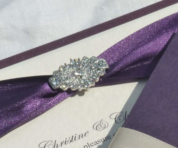 Cream ribbon on purple, art deco embellishment (£4.30)