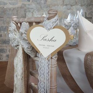 hanging heart reserved seating card
