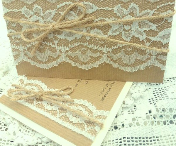 Kraft, lace & twine pocketfold & flat evening invitation