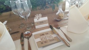 Laser cut tree place card & thank you