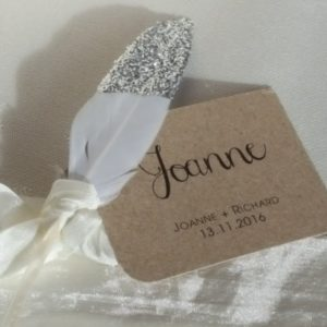 feather & silver glitter place card