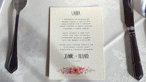 water colour floral print menu