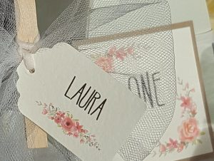 water colour floral print place card (peg on glass)