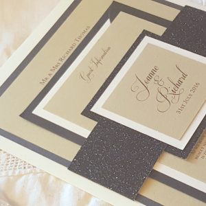 bellyband invitation with glitter