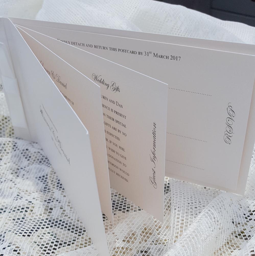 cheque book style wedding invitation