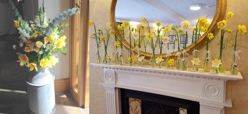 daffodils welsh wedding decor