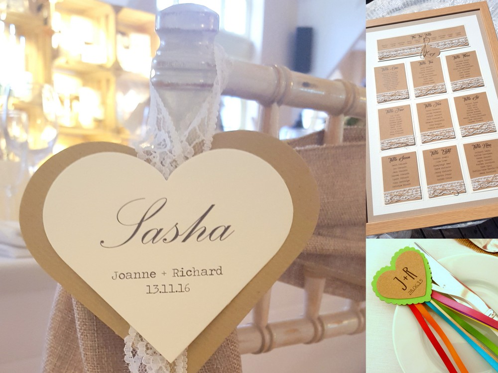 Heart theme wedding decor details, a table plan, chair decor and wand