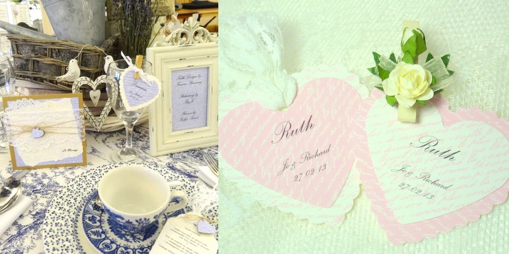 Rustic style wedding place tags, heart shaped