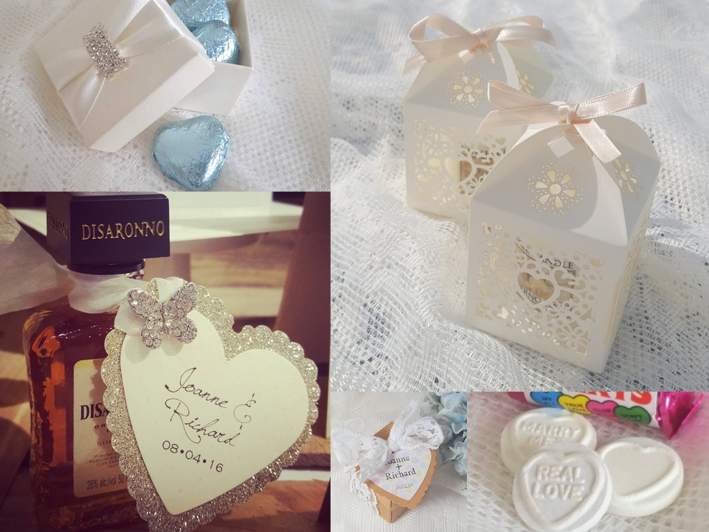 favour boxes and tags with a heart theme