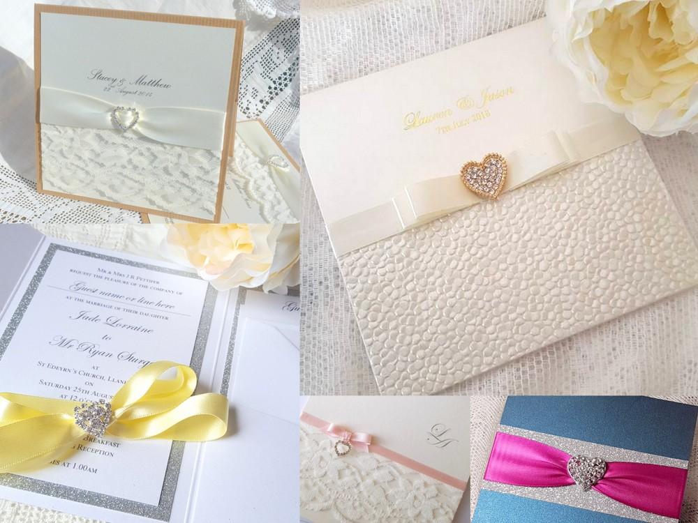 Handmade wedding invitations with heart shaped diamante embellishments
