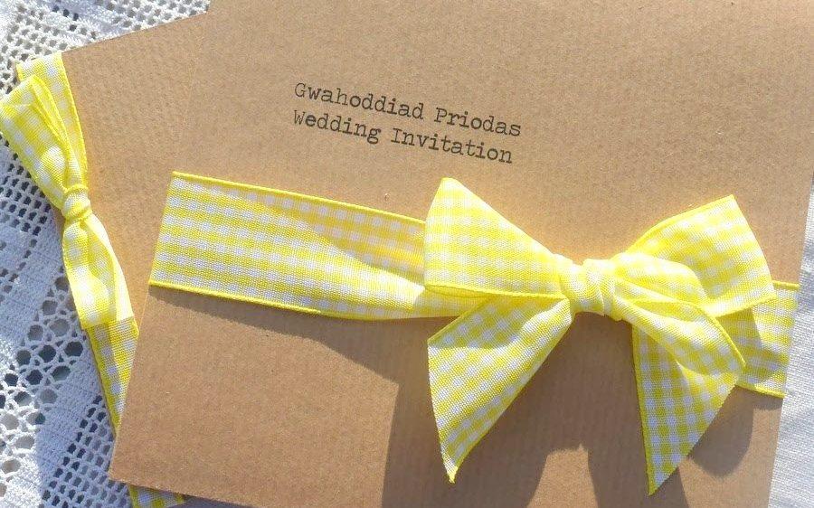 Gingham and yellow kraft wedding invitation