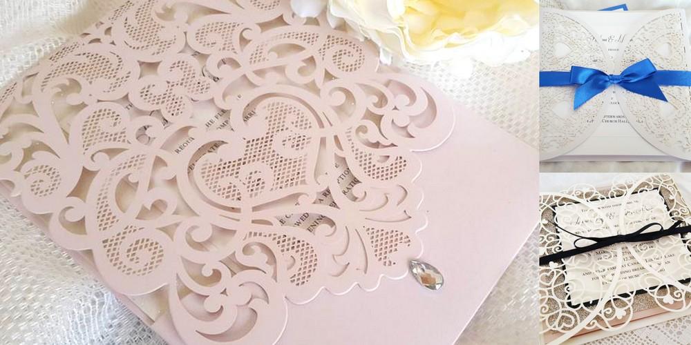 handmade laser cut wedding invitations with a heart theme