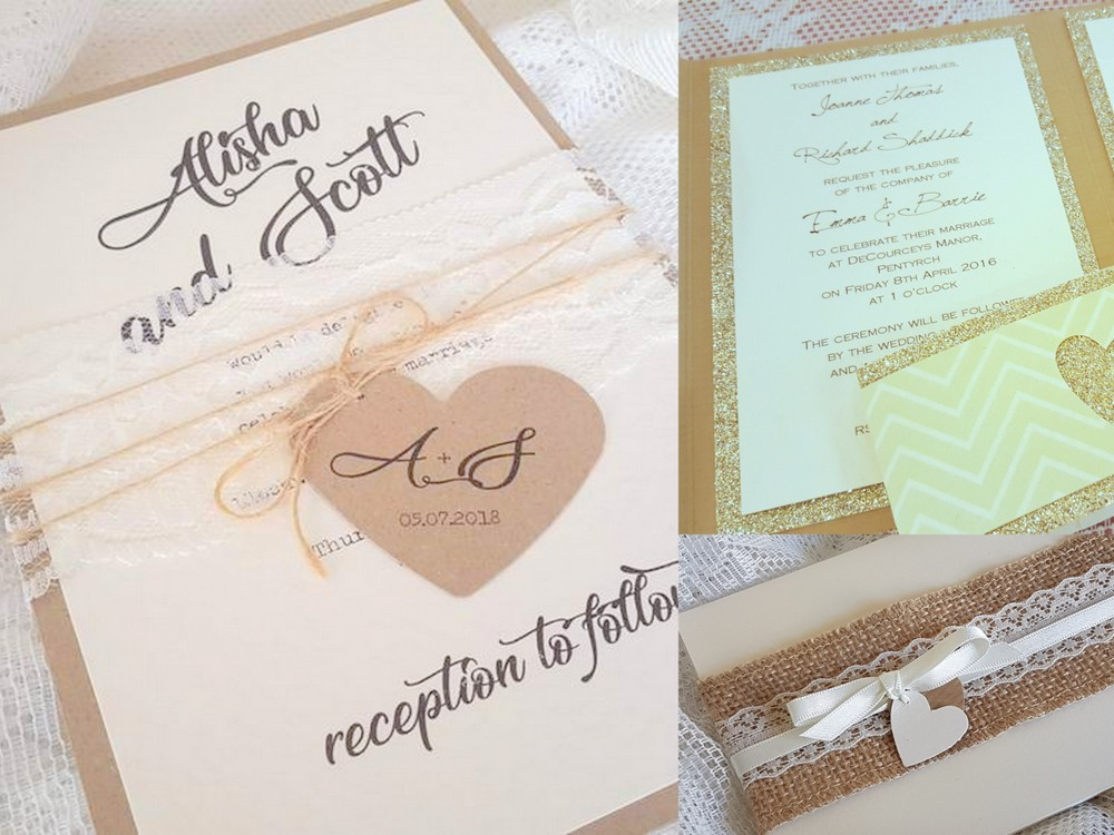 Handmade wedding invitations with a rustic feel and a heart theme
