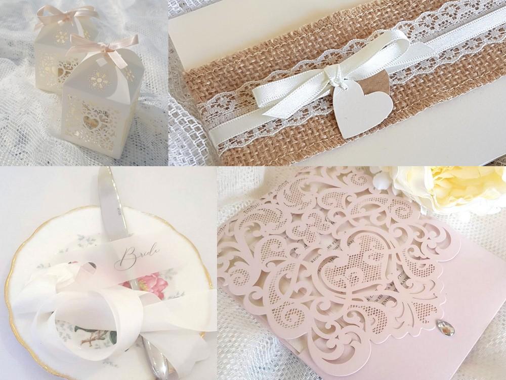 Handmade wedding stationery with a Valentine theme
