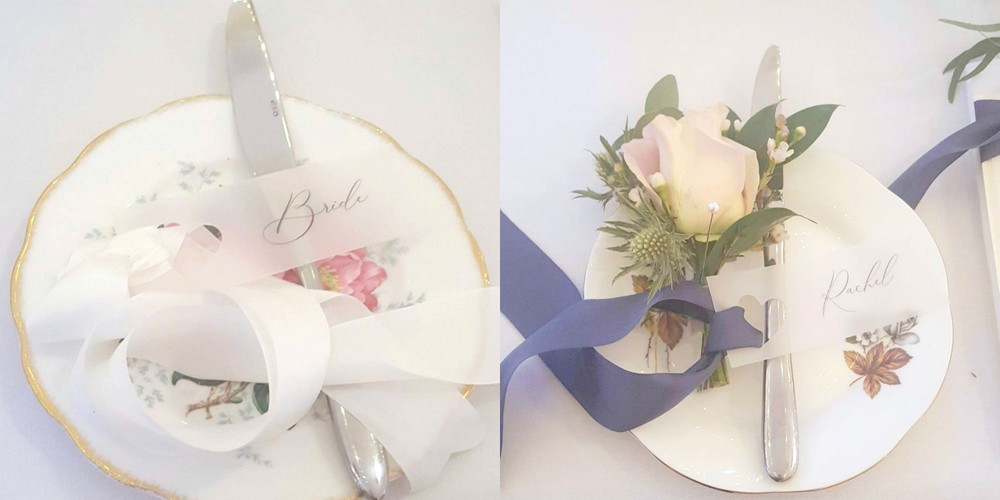 Pretty vellum wedding place tags with silk ribbon