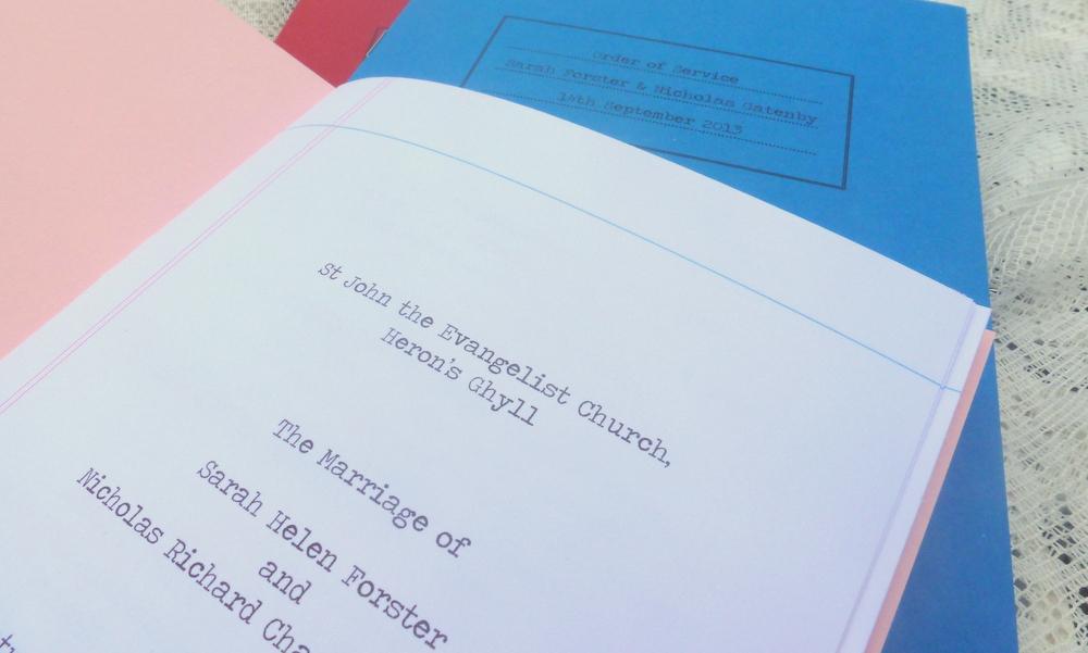 Retro school book style order of service