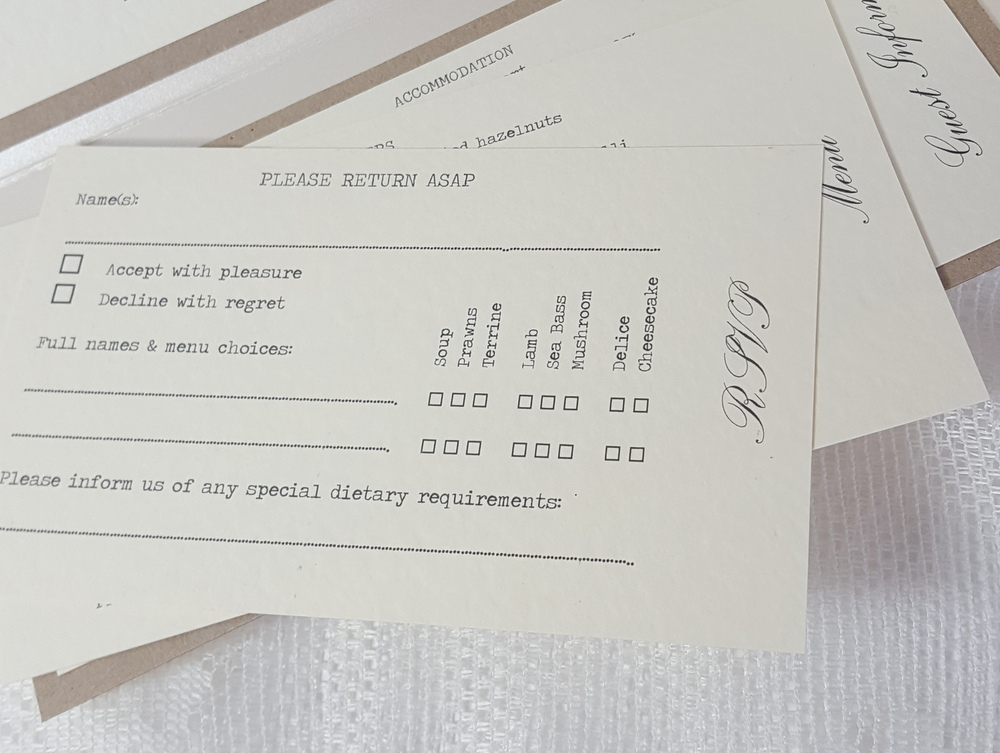 Pocketfold wedding invitation including a reply card with menu options