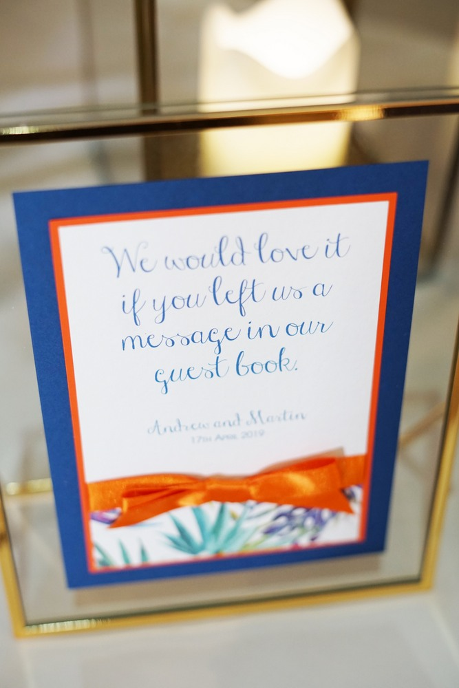 wedding guest book sign in gold frame