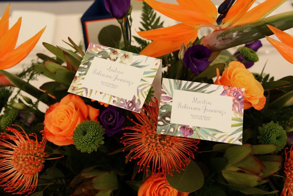 bright tropical wedding flowers