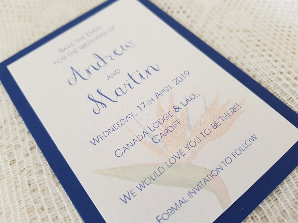 bird of paradise theme save the date card