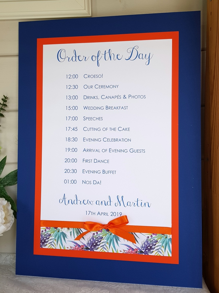 tropical theme order of the day board