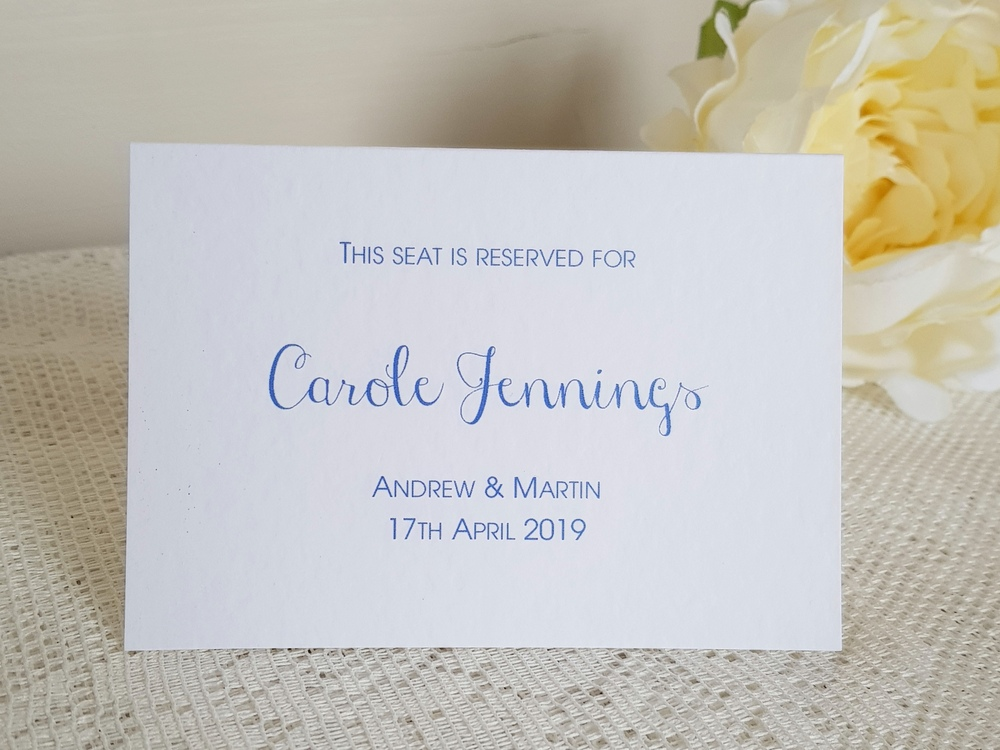 simple ceremony reserved seating card