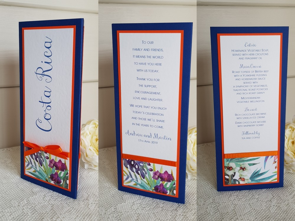 bespoke wedding table names three sided