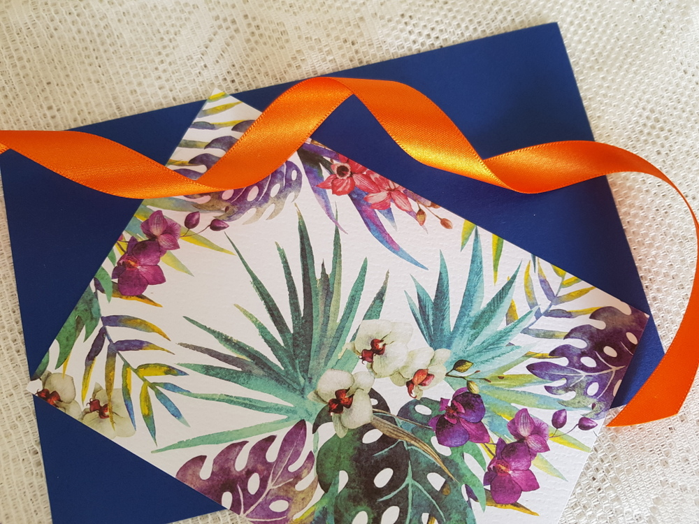 materials to create bespoke tropical wedding stationery