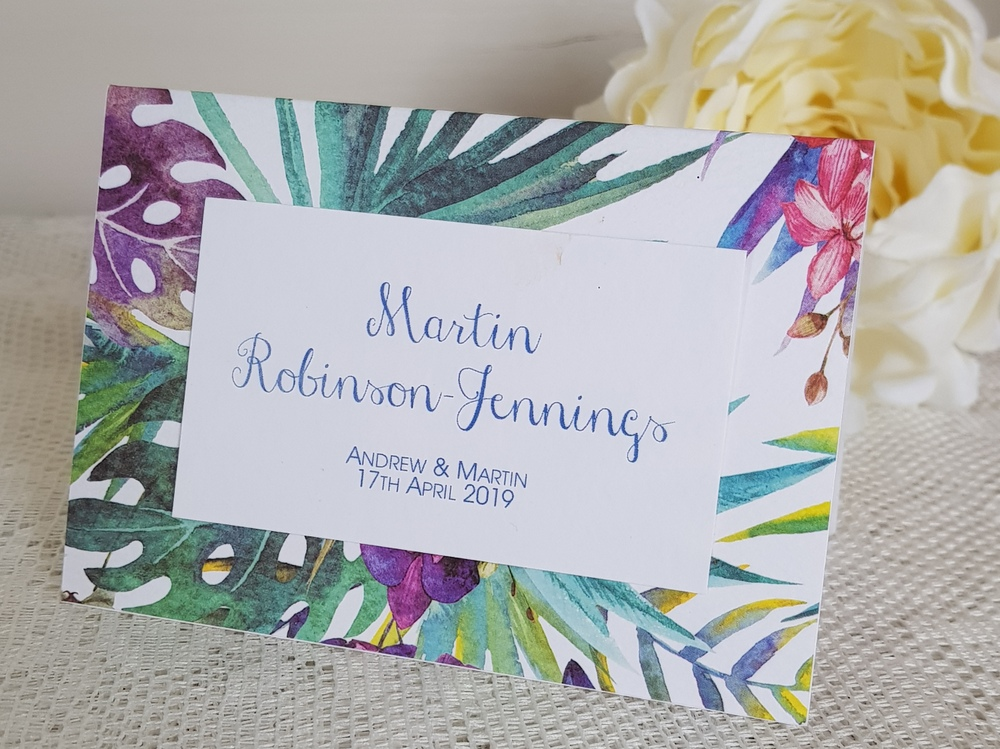 bright tropical wedding place card