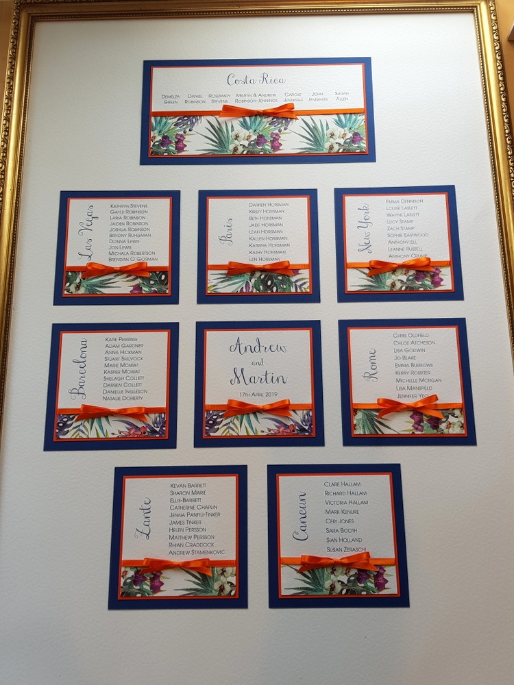 tropical wedding table plan in gold frame