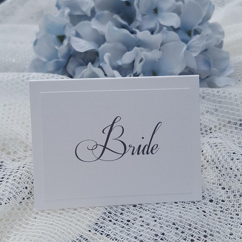elegant white place card