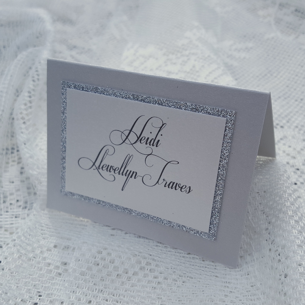 wedding place card with silver glitter