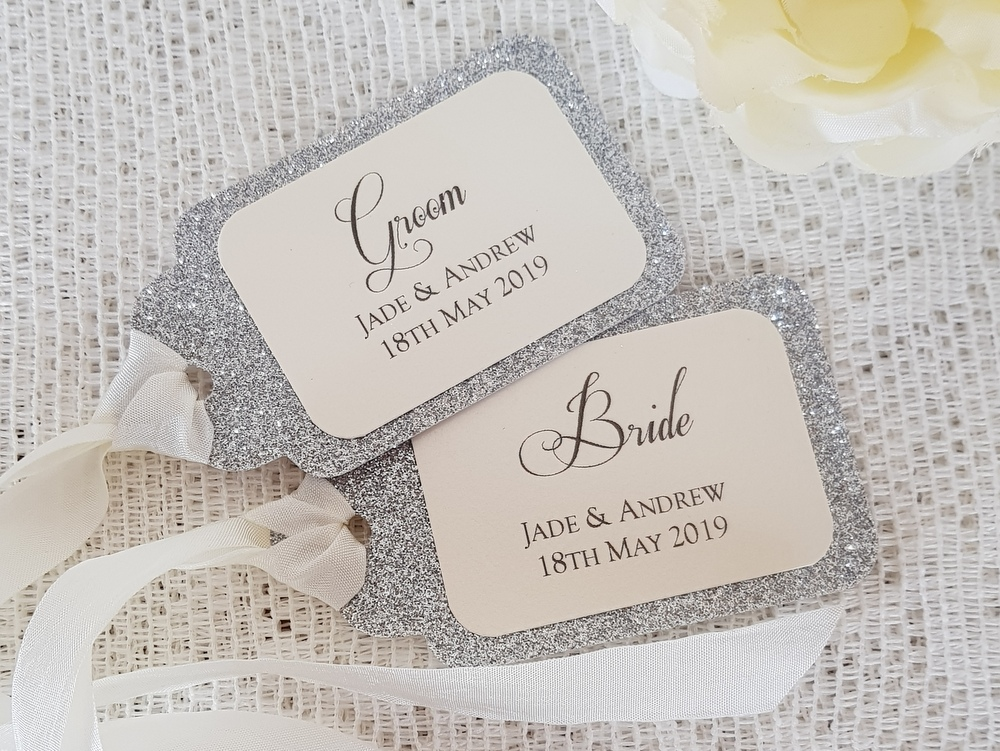 silver glitter wedding place tags
