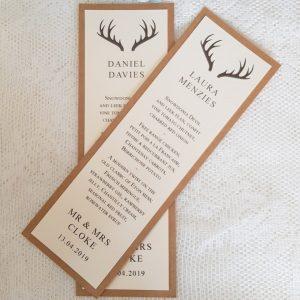 hunter personalised menu cards