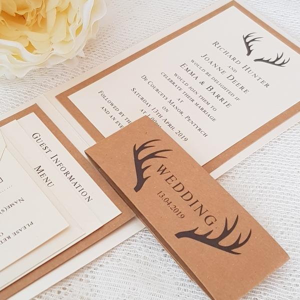 wedding invitation with antlers design