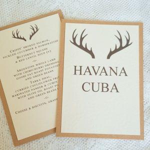 hunter table name and menu