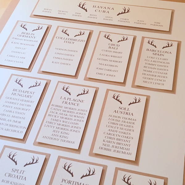 stag wedding table plan