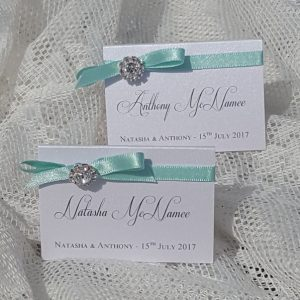 bows and bling aqua and silver place cards