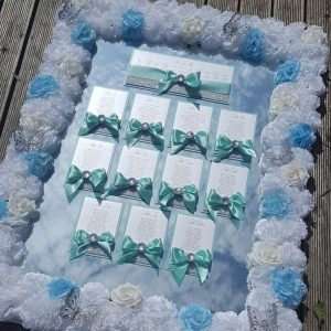 bows and bling aqua flower frame table plan