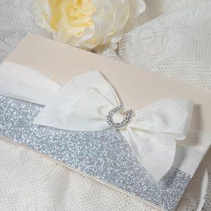 bows and bling diamante horseshoe invitation