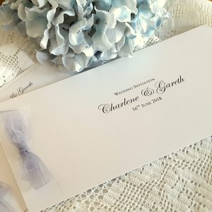 grey chiffon ribbon invitation