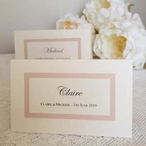 elegant blush and ivory wedding lotto ticket place cards