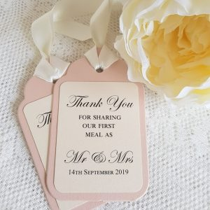 thank you for sharing our first meal wedding tags