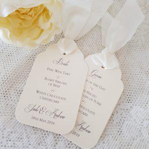 wedding menu tags with ivory silk ribbon