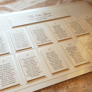 elegant ivory be our guest wedding table plan