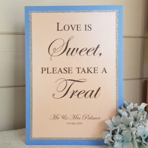 classic peach and blue sweet treat sign