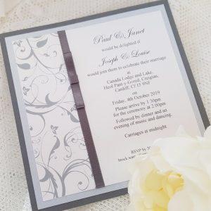 elegant grey wedding invitation