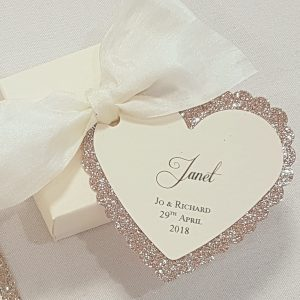 gold glitter heart tag