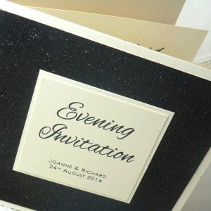 black glitter folded wedding invitation