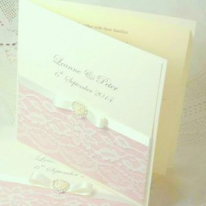 vintage lace folded wedding invitation